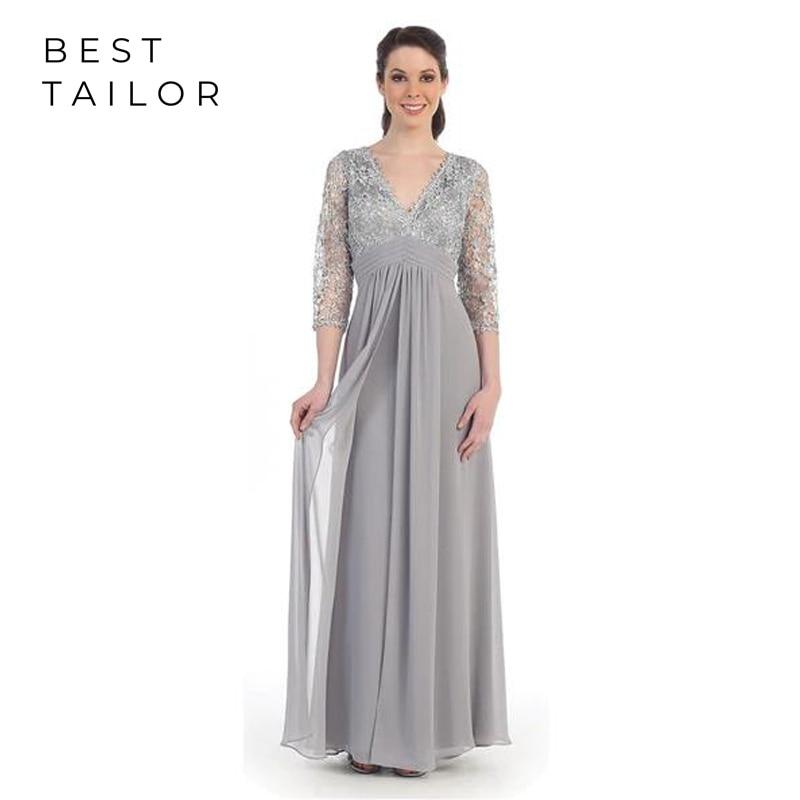 2019 Mother Of The Bride Dresses For Weddings Silver Full Length Long V-Neck 3/4 Sleeve Chiffon Empire Kurti Vestido De Madrinha