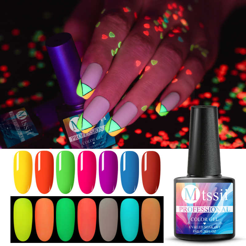 Mtssii 8ml Glow In Dark Fluorescente Al Neon Luminoso Uv LED Soak Off Gel Per Unghie di Illuminazione Nella Notte Semi Permanente vernice Smalto