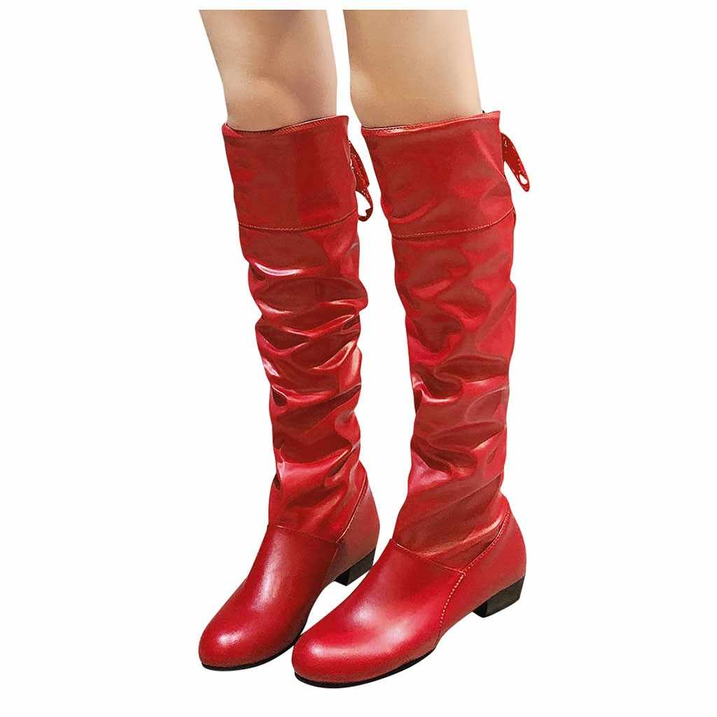 Diz yüksek kırmızı uzun çizmeler kadınlar için sıcak deri yavru topuk çizmeler dantel Strappy düz çizmeler büyük boy öğrenci ayakkabı kadın patik