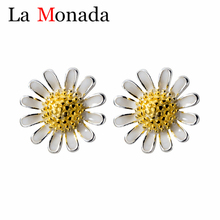 Real 925 Sterling Silver Daisy Sun Flower Earrings Stud for Women Girls Gift Hot Fashion Sterling-silver-jewelry