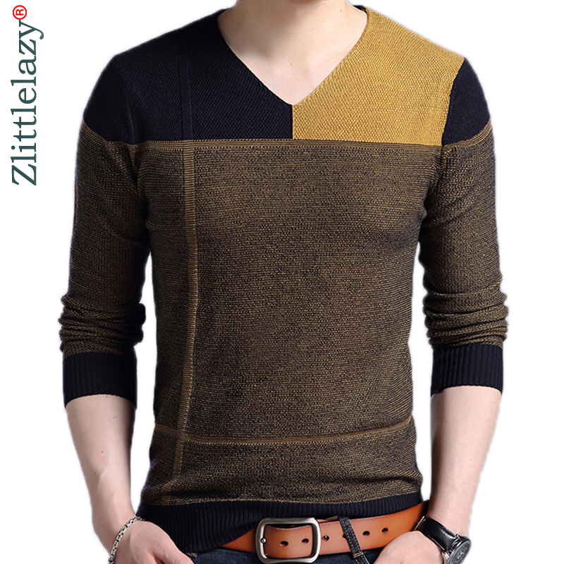 2019 New Designer Pullover Patchwork Men Sweater Mensjersey Knitted Sweaters Mens Wear Slim Fit Knitwear Fashion Clothing 3129