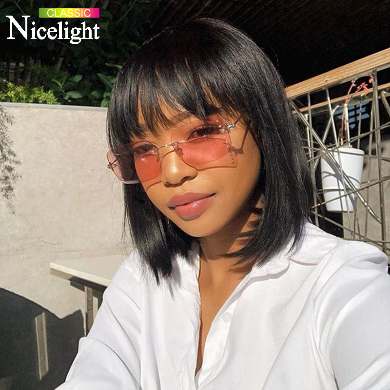 Nicelight Hair Peruvian Remy Hair Wig Human Hair Wigs 150% Density Bangs Straight Wig Blunt Cut Bob Wig Pre Plucked