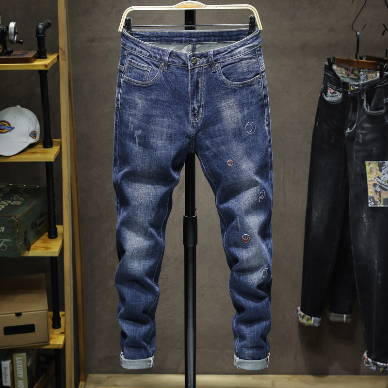 KSTUN Blue Jeans Men Stretch Slim Fitness Spring and Autumn Fashion Embroidered Pattern Denim Pants