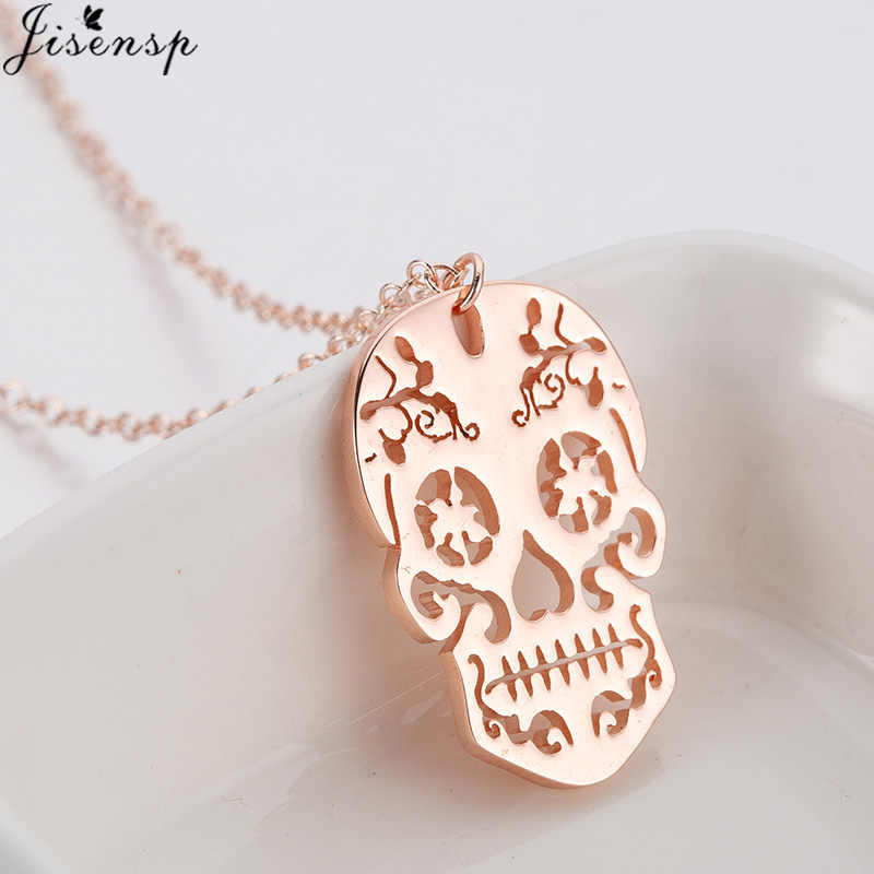 Jisensp Vintage Skeleton Pendant Necklace Women Halloween Jewelry Ethnic Skull Necklaces Choker Girls collier femme
