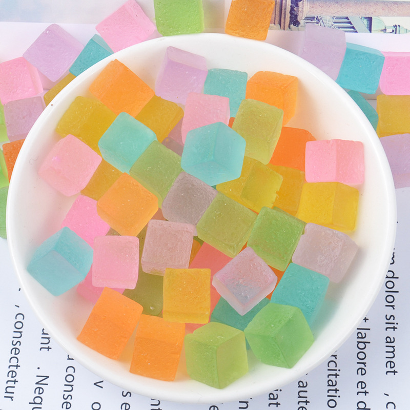 10pcs/lot Colorful Sugar Cube Resin Polymer Clay Charms For Slime Kit To Make Additive In The Slide Glue For Clay Slime Filler