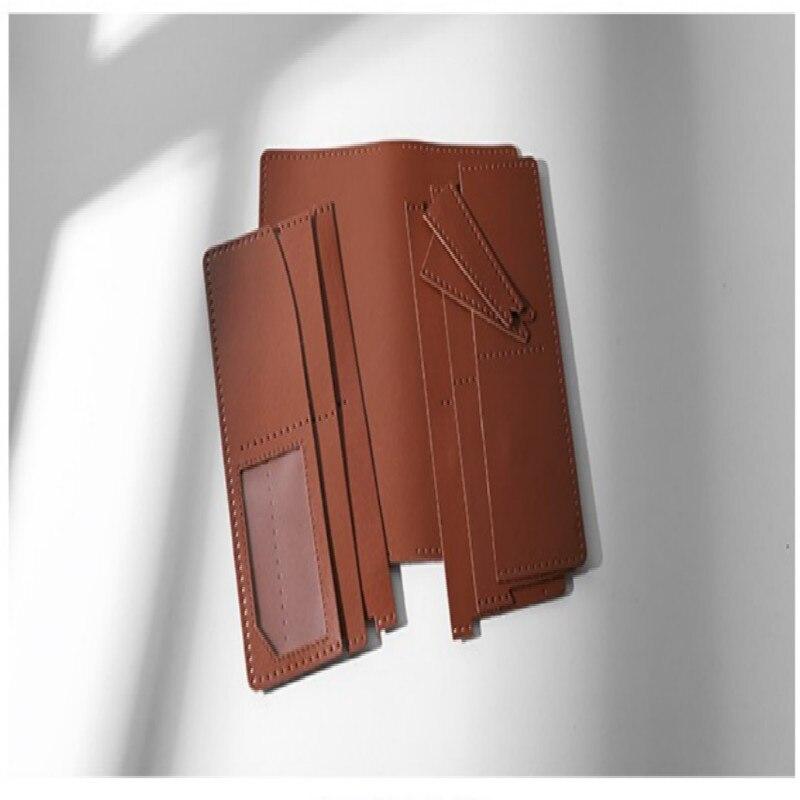 Nouveau portefeuille Long fait main matériel sac en cuir portefeuille coréen en cuir pochette grande capacité bricolage matériel paquet