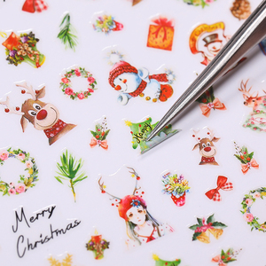 1 Sheet Winter 3D Nail Stickers Wreath Elk Transfer Decals Paper Stickers Christmas Tree Snowflake Slider Decoaration