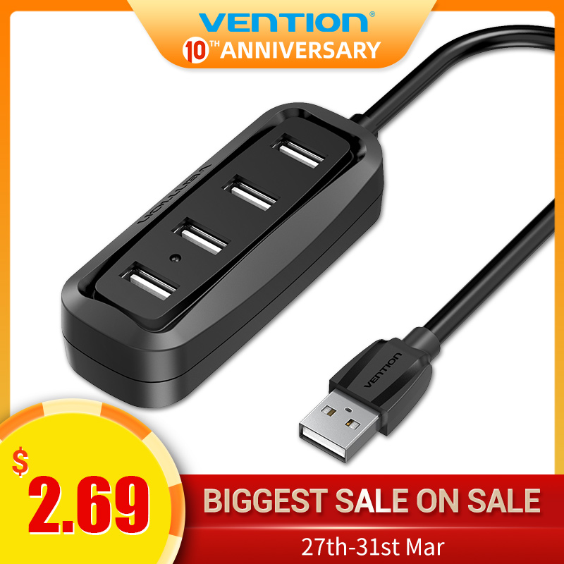 Vention USB HUB USB 2.0 Hub 4 Port USB Splitter With LED Indicator USB Hub For Macbook Pro PC Computer Tablet Hub Multi USB Hab