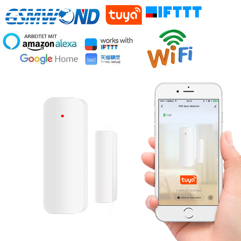 2.4G Wifi Door Sensor Tuyasmart Smart Life APP Door Open / Closed Detectors Home Smart Compatible With Alexa Google Home IFTTT