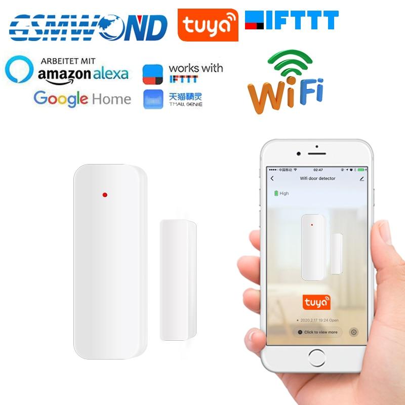 2.4G Wifi Door Sensor Tuyasmart Smart Life APP Door Open / Closed Detectors Home Smart Compatible With Alexa Google Home IFTTT