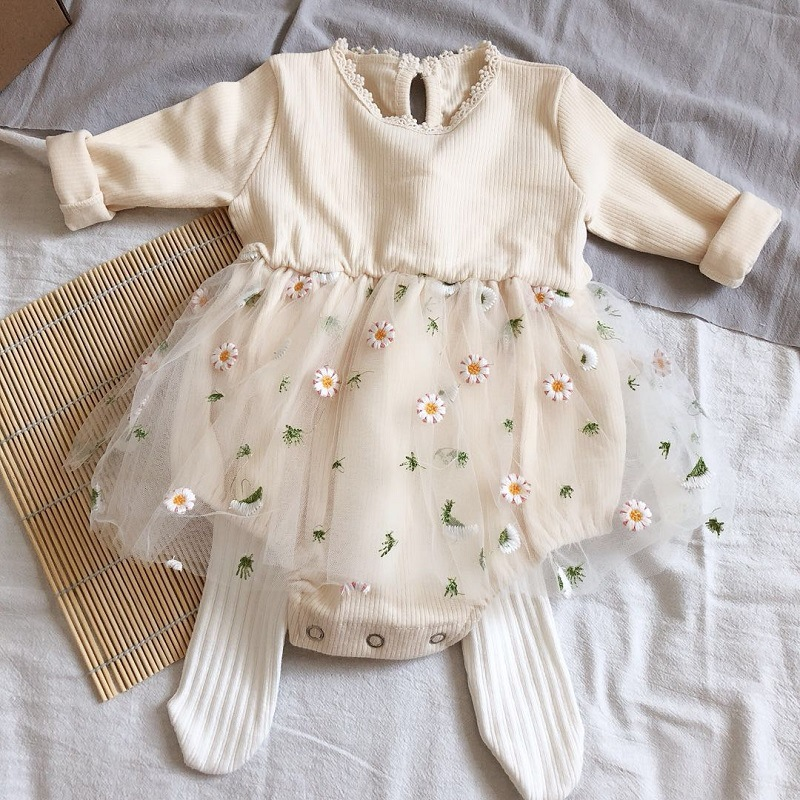Summer Autumn Princess Baby Girls Bodysuits Clothes Cute Lace Mesh Floral Toddler Little Girls Tutu Dress Jumpsuits Outfits
