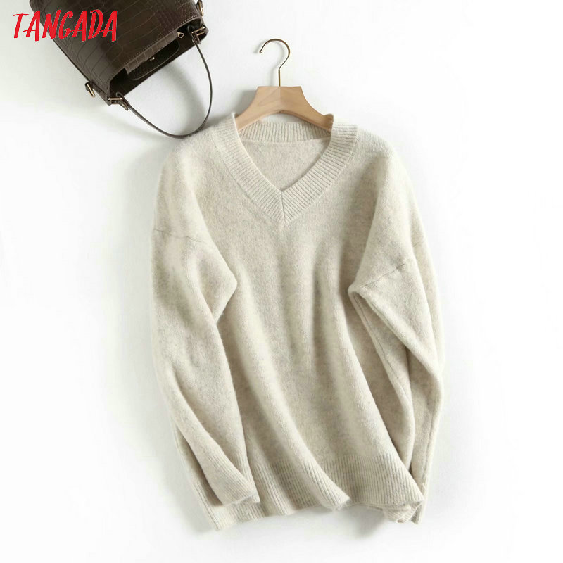 Tangada Women Solid Knitted Sweaters Long Sleeve Vintage Lady Fashion Pullovers Winter Thick Stylish Tops BAO9