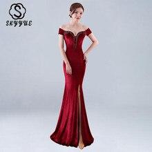 Skyyue Evening Dress Off The Shoulder Women Party Dresses Sexy Split Tassel Robe De Soiree 2019 Boat Neck Gowns C201
