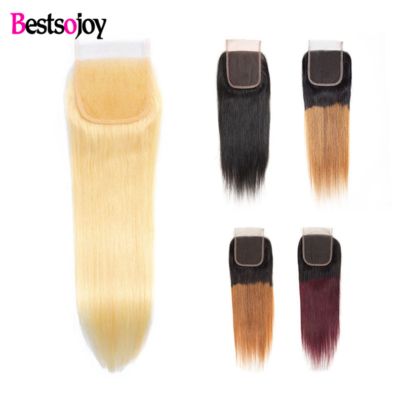 Bestsojoy Hair 613 Blonde Lace Closure 4x4 Free Part 5 Colors Available #1B/27 Burgundy Brazilian Closure 10-20 Inch Remy Hair