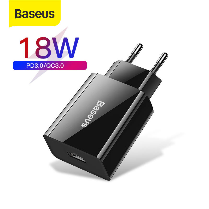 Baseus 18W Fast USB Charger Support Quick Charge 3.0 USB Type-C PD Charger Mini Portable Phone Charger ForHuawei ForXiaomi ForiP