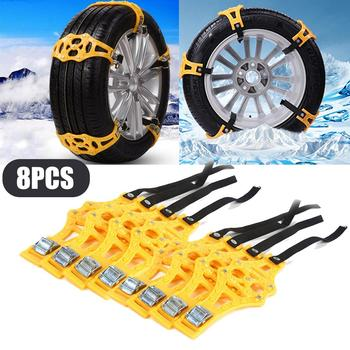 8Pcs/set SUV Car Tyre Winter Roadway Safety Tire Snow Non-slip Nails Adjustable Anti-skid Safety Wheel TPU Chains with Gloves