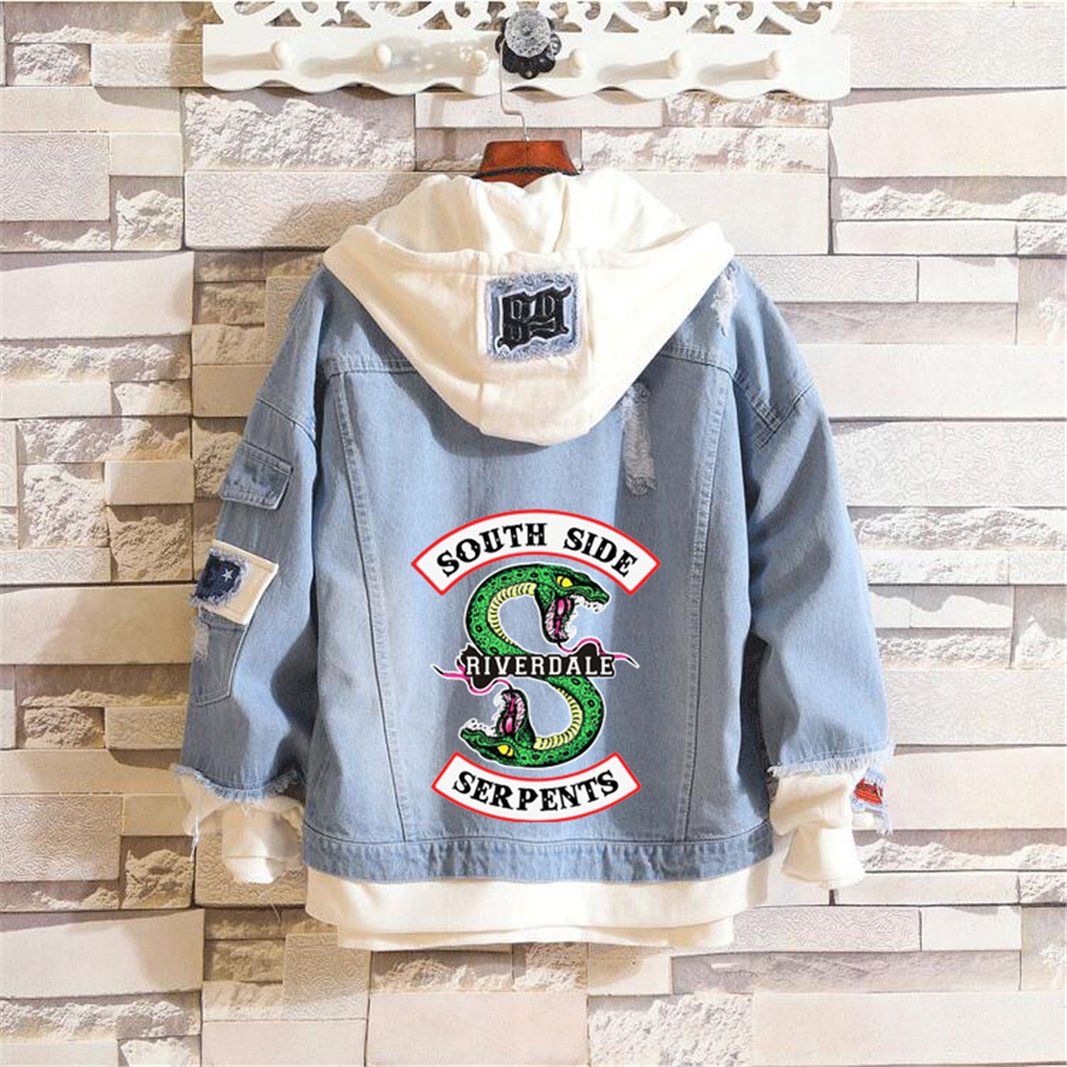 Riverdale Logo Printed Denim Jackets Fashion Men And Women Southside Serpents Riverdale Streetwear Fashion Hooded Jacket Coat