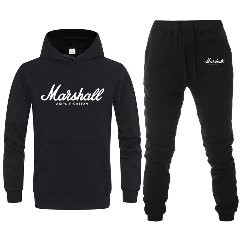 Fashion Brand Marshall Hoodies Sweatshirt Men/Women Tracksuit+Sweatpant Suit Casual Harajuku Hoodie Hip Hop Male Hooded Pullover