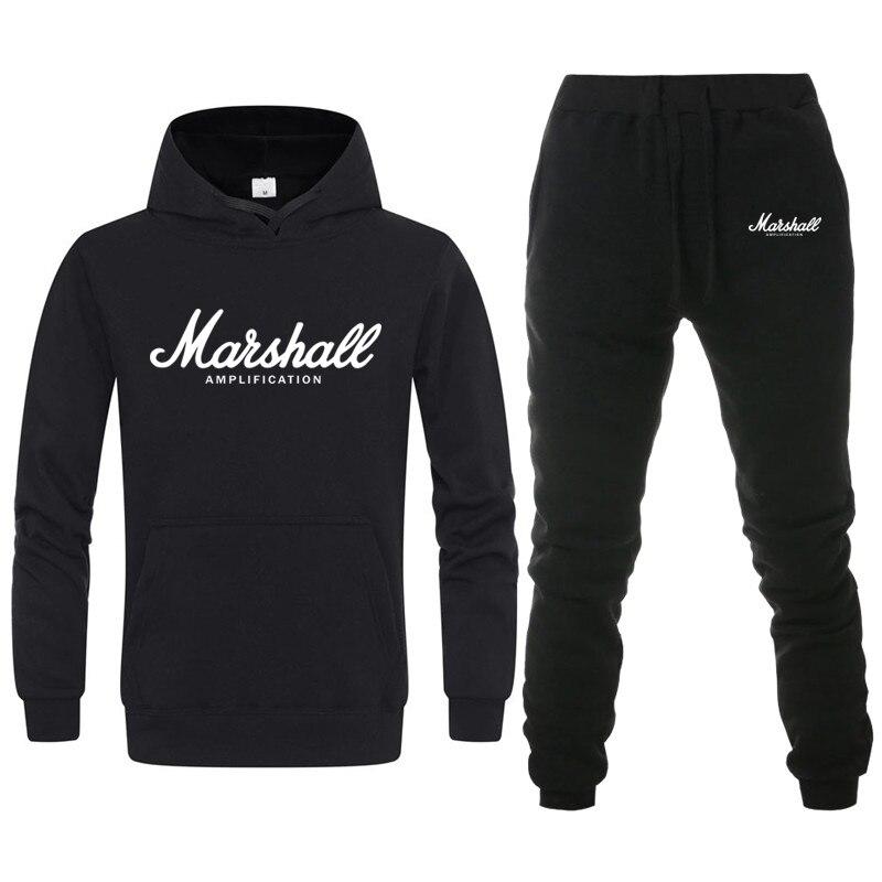 Fashion Brand Marshall Hoodies Sweatshirt Men/Women Tracksuit+Sweatpant Suit Casual Harajuku Hoodie Hip Hop Male Hooded Pullover