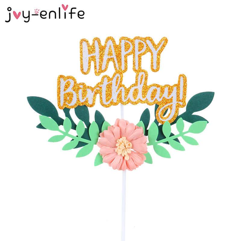 Decoração de bolo de aniversário, decoração de flores e folhas verdes de feliz aniversário e casamento