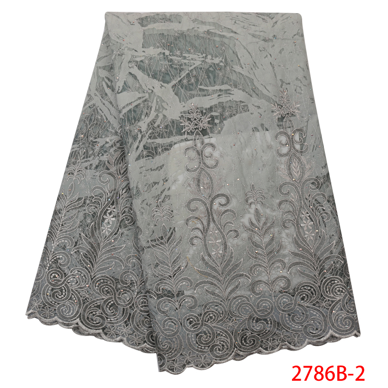 African Organza Lace Fabric 2019 High Quality Lace,New Design Velvet Lace,French Embroidered Tulle Lace With Stones KS2786B-2