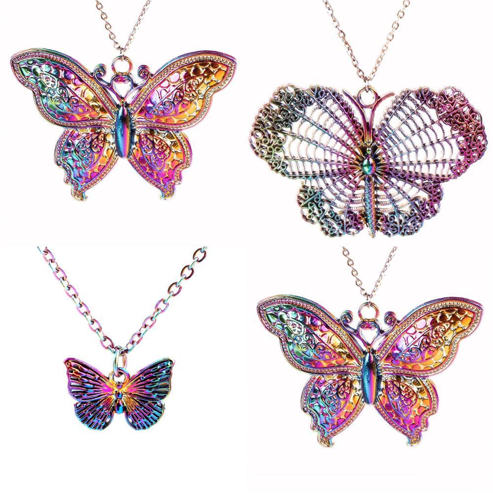 Ожерелье из сплава радужной расцветки с большой бабочкой, 1 шт., Бесплатная Цепочка Из Нержавеющей Стали, DIY бабочки, ювелирные изделия, подар...