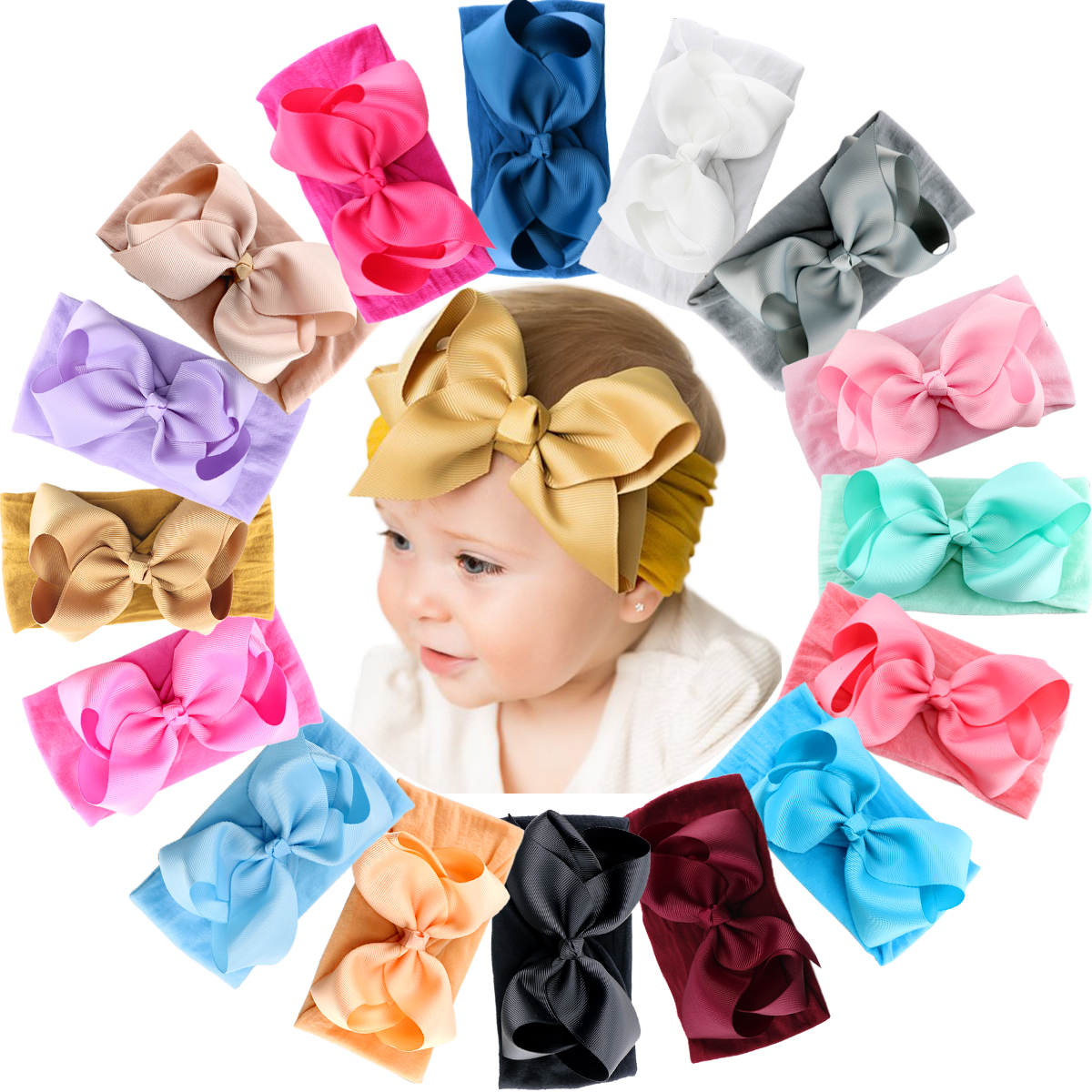 16 Colors Baby Nylon Knotted Headbands Girls Big 6 Inches Hair Bows Head Wraps Infants Toddlers Hairbands