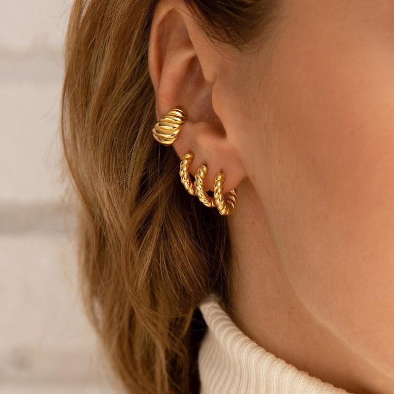 C Shape Twist Croissant Earrings For Women Stainless Steel Hoop Earrings Circle Round Earring Female Fashion Jewelry Orecchini