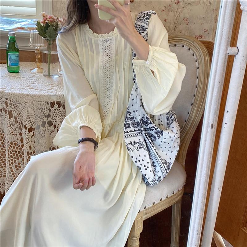 H069f13dbc0384376b68e3b59977980f2x - Autumn O-Neck Lantern Sleeves Loose Lace Solid Dress