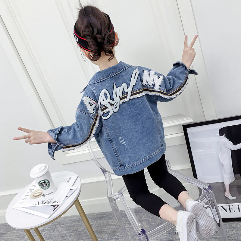 Girl Coats Kids Spring Autumn Denim Jackets for Girls Letter Embroidery Clothes Blue Cotton Jeans Outerwear Tops Kid Clothes NewJackets & Coats   -