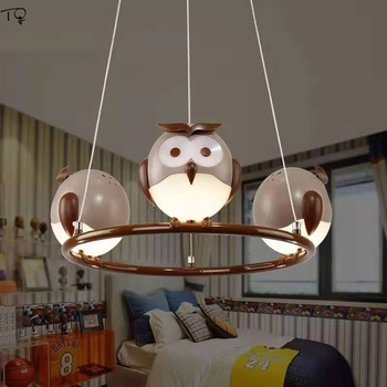 Modern Cartoon Animal Cute Owl Pendant Lights Led Kids Room Light Boys Room Bedroom Creative Eye Protect Celling Light Luminaire