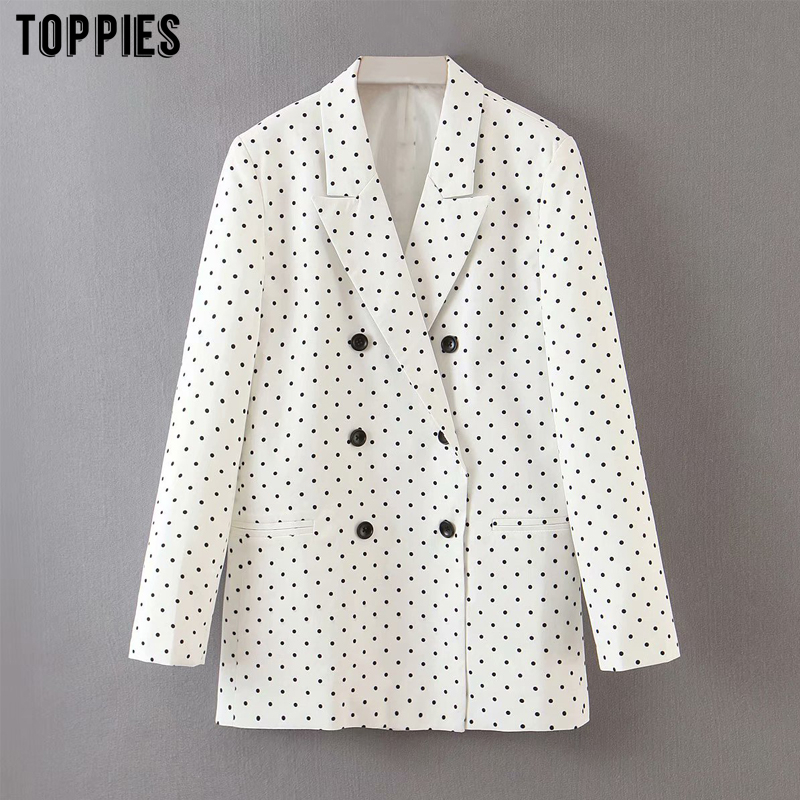 Toppies White Polka Dot Suit Jacket Coat Summer Thin Blazer Doulbe Breasted Ladies Office Formal Blazer Outwear