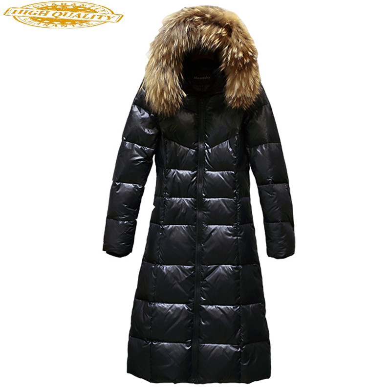 2020 Women's Down Jacket With Real Raccoon Fur Collar Hooded Long Slim Winter Warm Jackets For Women Coat Overcoat YQ795