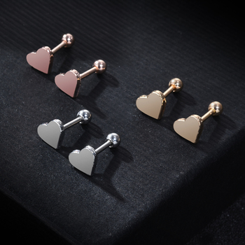 2pcs Piercing Jewelry Tragus Stud Earrings Cartilage Helix Heart Shape Ear Studs  women Party - discount item  20% OFF Fashion Jewelry