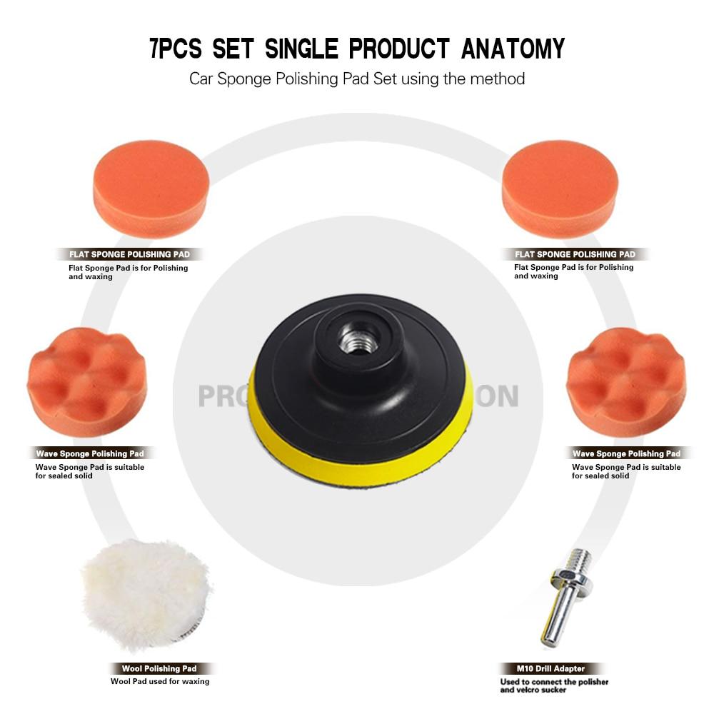 "7pcs 3"" Car Sponge Polishing Pad Set Polishing Buffer Waxing Adapter Drill Kit for Auto Body Care Headlight Assembly Repair 3"