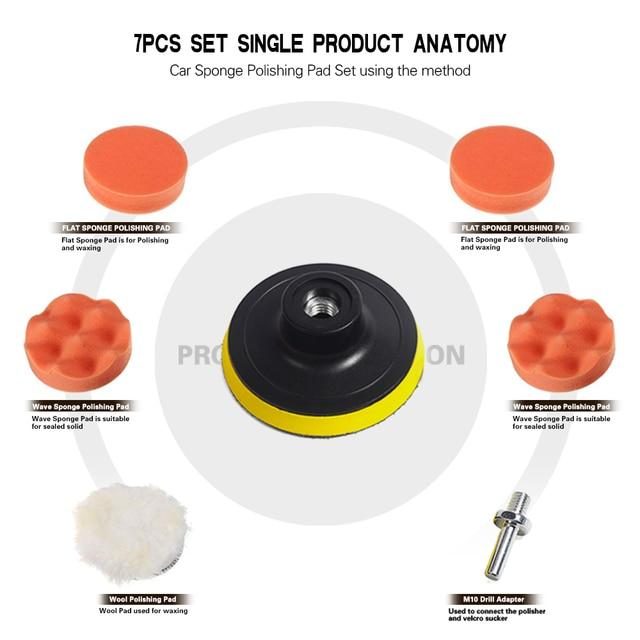 7pcs 3 Car Sponge Polishing Pad Set Polishing Buffer Waxing Adapter Drill Kit for Auto Body
