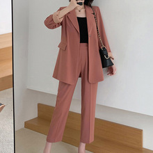 Womens suit two-piece Autumn new fashion long-sleeved blazer Office set Pants large size 2019 womens clothing
