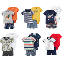 Summer 2019 Baby Boy Outfit Short Sleeve T-Shirt Tops+Romper+Plaid Shorts Infant Clothing Newborn Clothes Set New Born Suit sodawn 2017 brother sister clothes summer new children clothse boysgirls lattice short sleeve shorts suit boy girls clothing set