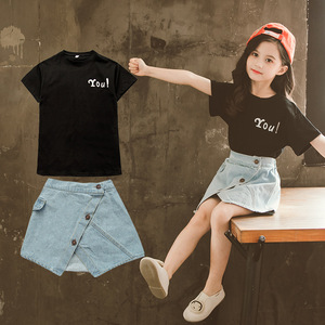 Комплект одежды для девочек, футболка с надписью, Джинсовая юбка, 2 шт., детская одежда для девочек 3, 4, 5, 6, 7, 8, 9, 10, 11, 12 лет, детские костюмы для ...