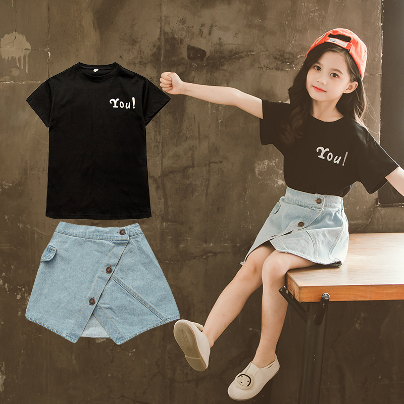 Girls Clothing Set Letter T-shirt Denim Skirt 2pcs Kids Clothes for Girl 3 4 5 6 7 8 9 10 11 12 Year Toddler Teen Children Suits