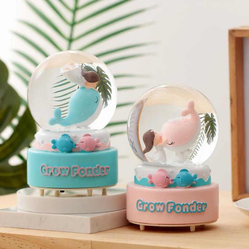 ファッション 3D ビッグサイズエレガントなクリスタルボールオルゴール家の装飾動物モデルクジラ装飾王女魚のギフト誕生日