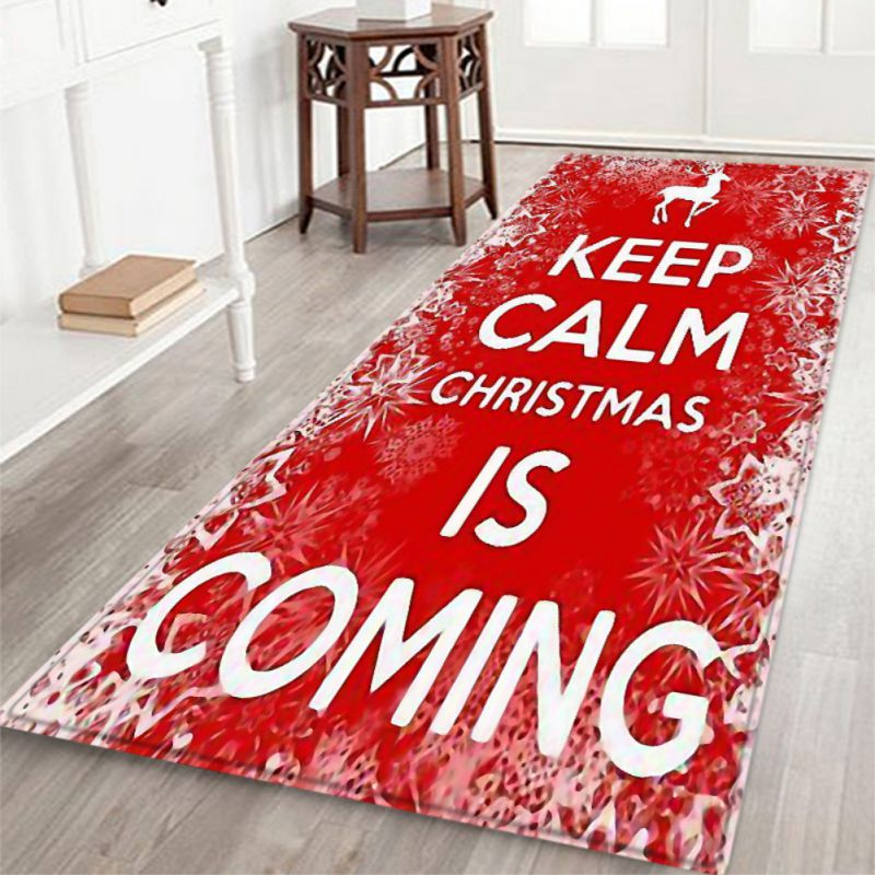 Christmas Rug Floor Mat For Kitchen Living Room Home Decoration Flannel Christmas Themed Rug Pad
