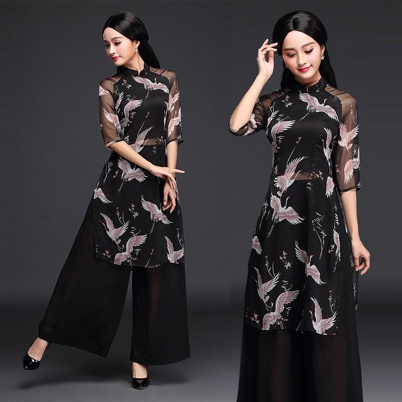 2019 Black Woman Chiffon Floral Print Ao Dai Vietnam Clothing Ao Dai Vietnam Robes And Pants Vietnam Costumes Improved Cheongsam