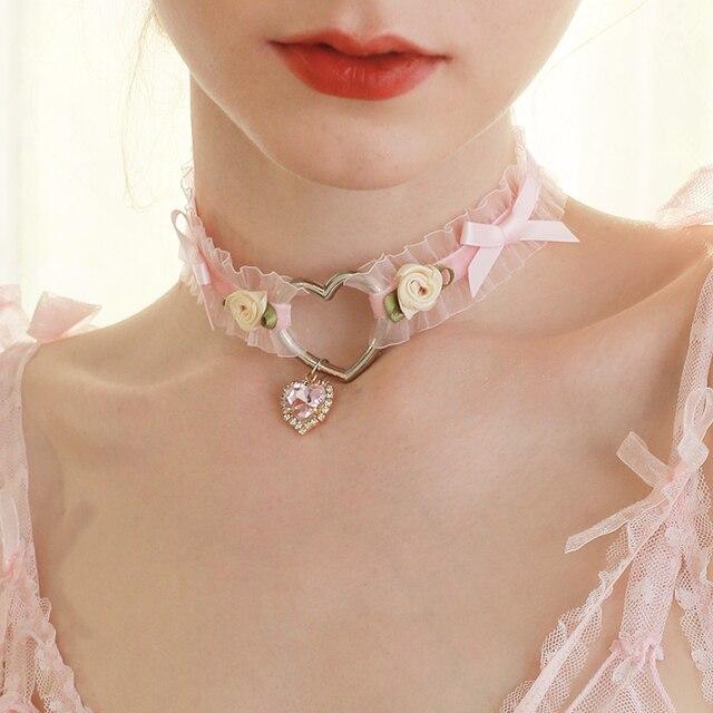 Gothic Lolita Spitzen Pinzessin Choker Kette Halskette Glocken Anhänger