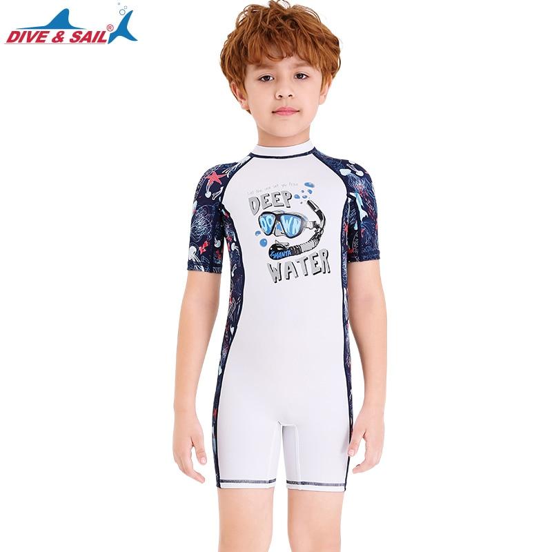 Infant Baby Boy Girl Zippered Bathing Swimwear Rash Guard Printed Beach Costumes