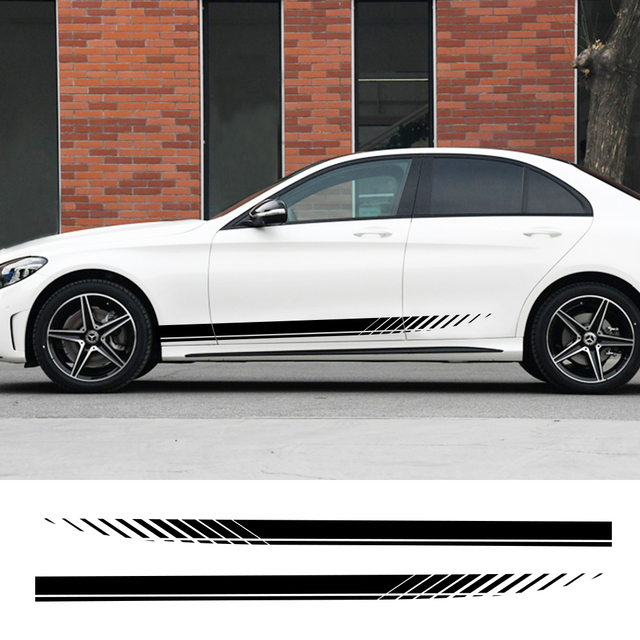 2PCS Car Side Stripes Side Stripe Skirts Graphics Vinyl Sticker Decals Racing Sport Automobiles Body DIY