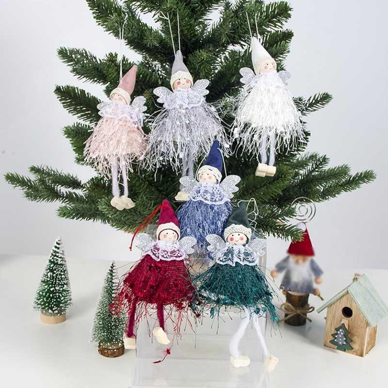 1PC ใหม่ปีแขวนตุ๊กตาบทความคริสต์มาสมุมเกล็ดหิมะตารางเครื่องประดับตกแต่งคริสต์มาสสำหรับงานปาร์ตี้ Navidad คริสต์มาสรายการ