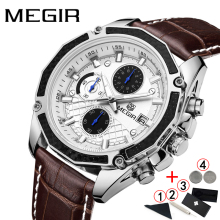 Men Watches 2019 Luxury Brand MEGIR Business Sport Mens Wrist Watch Genuine Leather Waterproof Chronograph Men Watches 2019