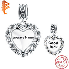 Vintage 925 Sterling Silver Good Luck Clear CZ Heart Charm fit Charm Bracelet Necklace Customized Photo Personalized Jewelry(China)