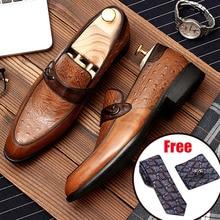 Phenkang/Мужская официальная обувь; мужские туфли-оксфорды из натуральной кожи; Цвет Черный; коллекция года; свадебные кожаные туфли-броги без застежки